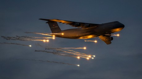 Check Out These Amazing Shots Of A C-5M Super Galaxy Releasing Flares During Defensive Countermeasures Testing
